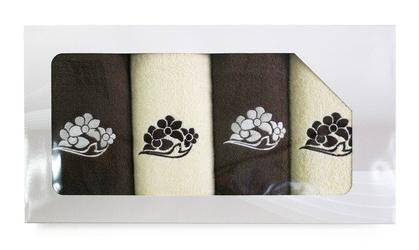 Komplet 4 ręczników greno viva krem brąz wzór 4 - 4  brązowy    kremowy