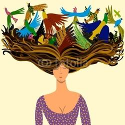 Obraz na płótnie canvas trzyczęściowy tryptyk Kobieta z ptakami lecącymi z jej włosów