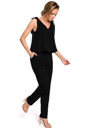 Czarny elegancki kombinezon z kokardkami na ramionach