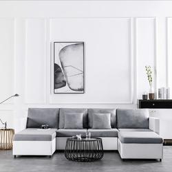 Vidaxl 4-osobowa sofa rozkładana, tapicerowana sztuczną skórą, biała