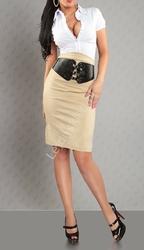Elegancka ołówkowa beżowa spódnica z paskiem