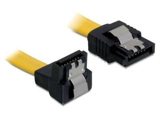 Delock Kabel SATA 6Gbs 50cm kątowy dółprosty metalowe zatrzaski     żółty