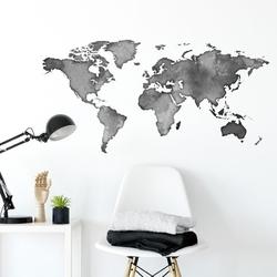 Naklejka na ścianę - shadow world map , wymiary naklejki - szer. 200cm x wys. 100cm