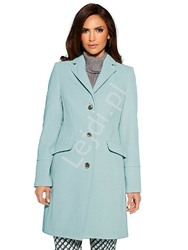 Elegancki klasyczny wełniany płaszcz w kolorze miętowym