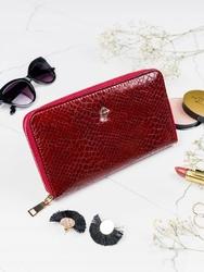 Pojemny portfel damski czerwony milano design - czerwony