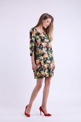 Krótka Dzianinowa Kwiatowa Sukienka z Kieszeniami