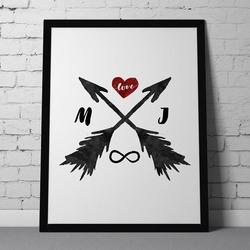 Miłosne strzały - personalizowany plakat miłosny , wymiary - 50cm x 70cm, kolor ramki - czarny