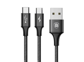 Kabel baseus 2w1 micro usb + usb-c rapid series 120cm