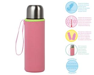 Etui na termos lub butelkę, neoprenowe różowe - KioKids
