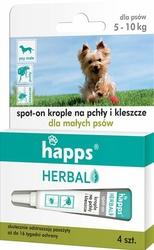 Happs Herbal, krople przeciw pchłom i kleszczom dla małych psów do 10kg, 4 sztuki