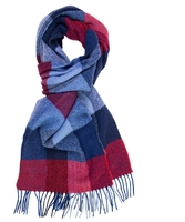 Elegancki szal w niebieska i bordową kratę z wełny z kaszmirem