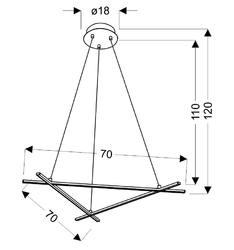 Nowoczesna lampa wisząca trzy listwy led ułożone w trójkąt andros apeti a0020-330