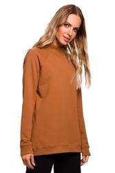 Kamelowa luźna bluza z zabudowanym dekoltem