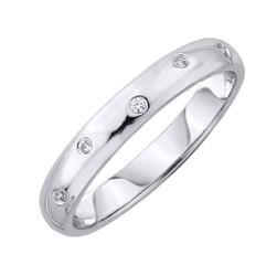 Staviori obrączka. 6 diamentów, szlif brylantowy, masa 0,06 ct., barwa h, czystość si2. białe złoto 0,585. szerokość 3 mm. grubość 1,2 mm.  dostępne inne kolory złota.