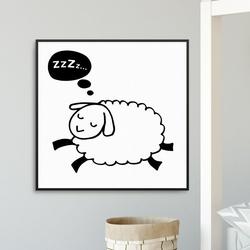 Sleepy sheep - plakat dla dzieci , wymiary - 50cm x 50cm, kolor ramki - biały