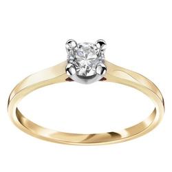 Staviori pierścionek. 1 diament, szlif brylantowy, masa 0,33 ct., barwa g, czystość si1-si2. żółte, białe złoto 0,585.