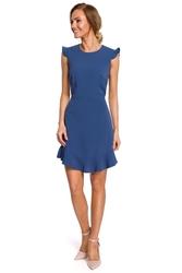 Dziewczęca letnia sukienka z falbaną bez rękawów niebieska m438