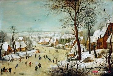 zimowy pejzaż z łyżwiarzami i pułapką na ptaki - pieter brueghel starszy ; obraz - reprodukcja