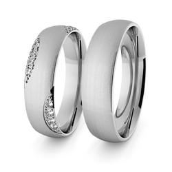 Obrączki ślubne klasyczne z białego złota niklowego 5 mm z brylantami - 63