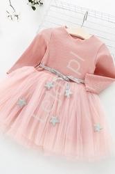 Koralowa sukienka dla dziewczynki z tiulową spódnicą
