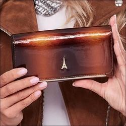 Skórzany portfel damski lakierowany brązowy paris design 74110 - brązowy
