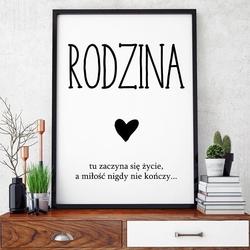 Rodzina - plakat typograficzny , wymiary - 60cm x 90cm, ramka - czarna , wersja - czarne napisy + białe tło