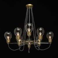 Żyrandol z oprawami o kształcie dużych żarówek, odcień złoty mw-light 699010708