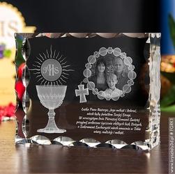 Pamiątka komunii »różaniec i kielich« mega duża • fotokryształ 2d personalizowany