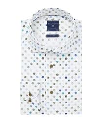 Męska biała koszula profuomo slim fit w kolorowe grochy 37