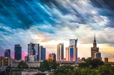 Warszawa wieżowce panorama miasta - plakat premium wymiar do wyboru: 60x40 cm