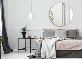 Okrągłe lustro scandinavia z ramą w kolorze naturalnym