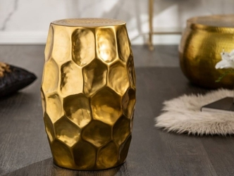 Złoty stolik kawowy organic orient z młotkowanego aluminium  30x46x30 cm