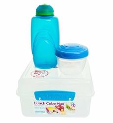 Lunchbox Kostka Max 2l, i Butelka 385 ml, niebieski, Sistema