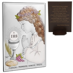 Obrazek srebrny 13x18 dziewczynka pamiątka na i komunię św. grawer
