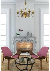 Klasyczny 6-ramienny żyrandol z mosiądzu i oprawami w kształcie świec chiaro 481010106