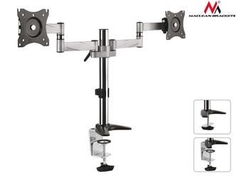 Maclean uchwyt biurkowy do dwóch monitorów lcd mc-714 13-27 8kg aluminiowy