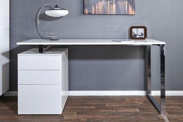 Białe biurko z kontenerkiem compact 160 cm