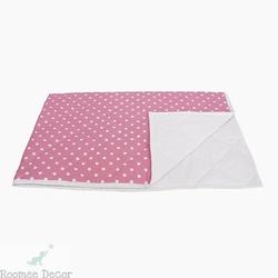 Narzuta średnia - gwiazdki - różowo - białe