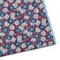 Bordowa jedwabna poszetka w kwiaty z błękitną obwódką