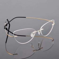 Złote okulary bez ramek dla kobiet z antyrefleksem sch-501