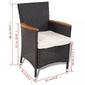 Komplet ogrodowy stół + 8 krzeseł polia polirattan czarny