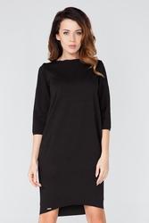 Czarna prosta sukienka do kolan z rękawem 34