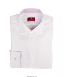 Elegancka biała koszula męska ze stójką i środkiem mankietów we fioletową kratkę - krój klasyczny 48