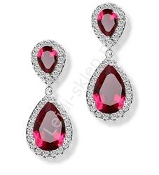 Kryształkowe czerwone kolczyki wieczorowe, dwie łezki otoczone kryształkami
