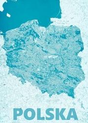 Polska, modern blue - mapa