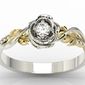 Pierścionek złoty w kształcie róży z białym szafirem i brylantami lp-7715bz - białe i żółte  szafir white