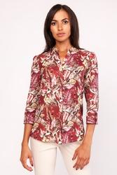 Elegancka wzorzysta koszula ze stojką z rękawem ¾