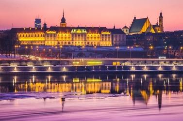 Warszawa zamek królewski bajkowy zamek - plakat premium wymiar do wyboru: 91,5x61 cm
