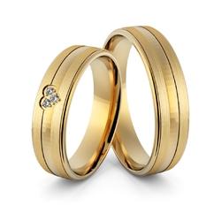 Obrączki ślubne sercem i brylantami - au-963