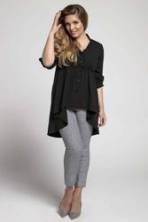 Czarna asymetryczna koszulowa tunika  plus size